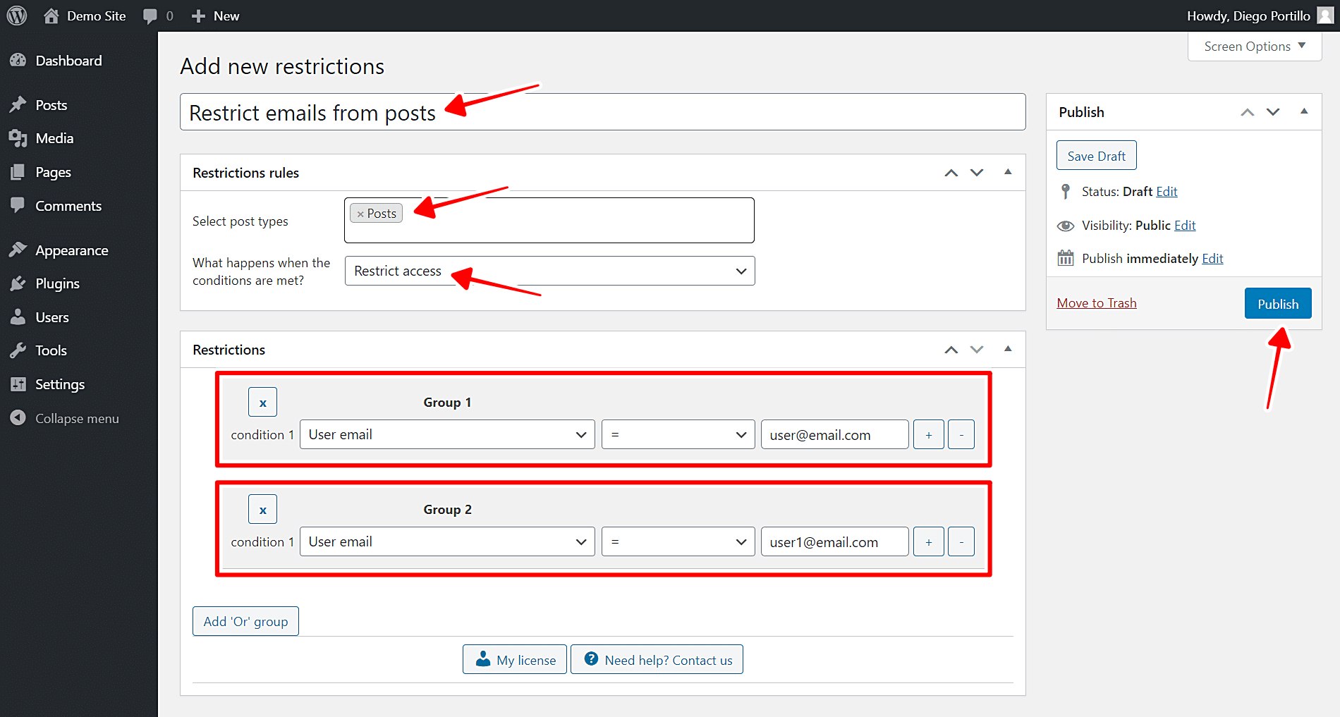 block posts by user email address wordpress