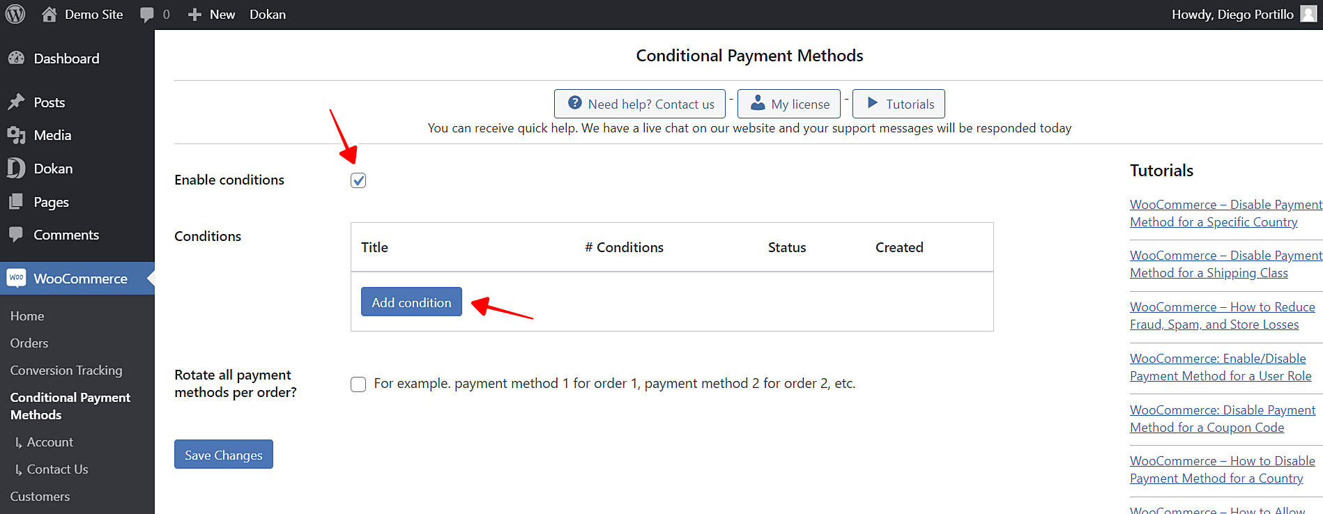 disable payment methods for first purchase