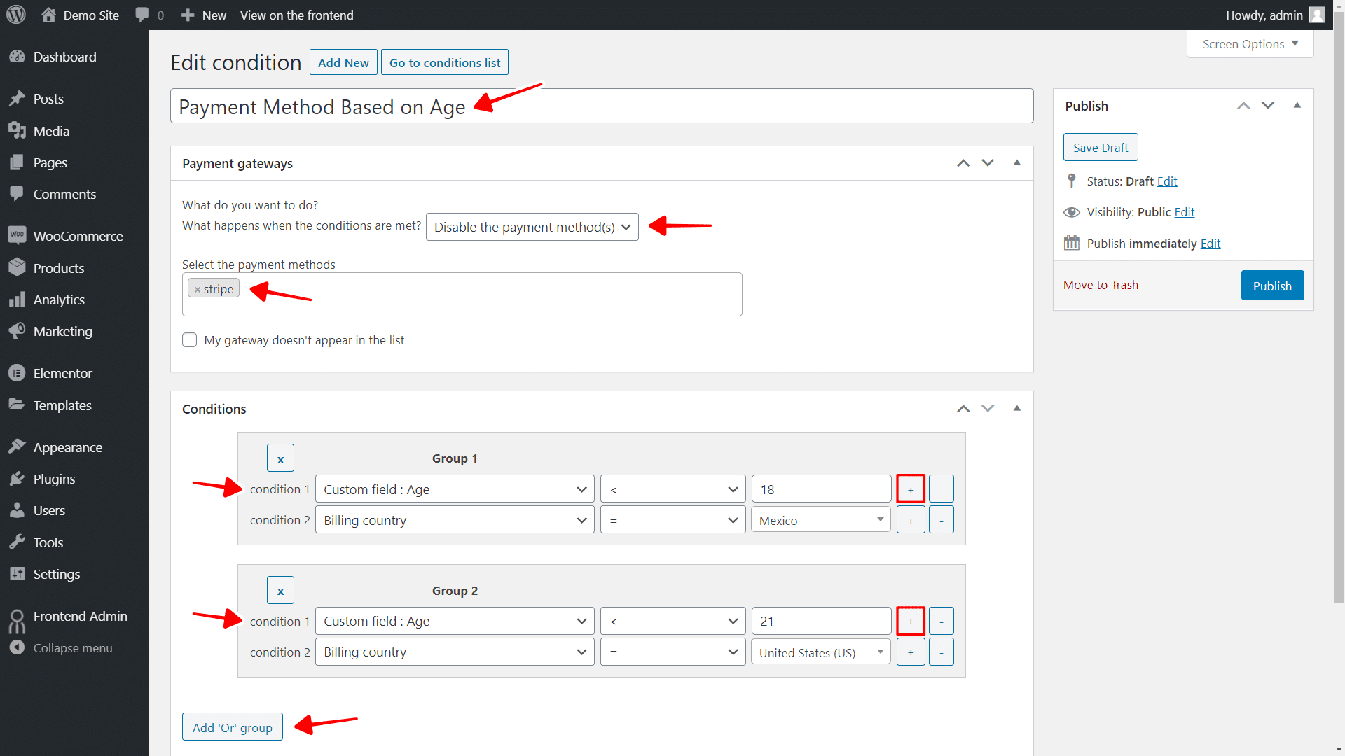 hide payment gateway based on user age