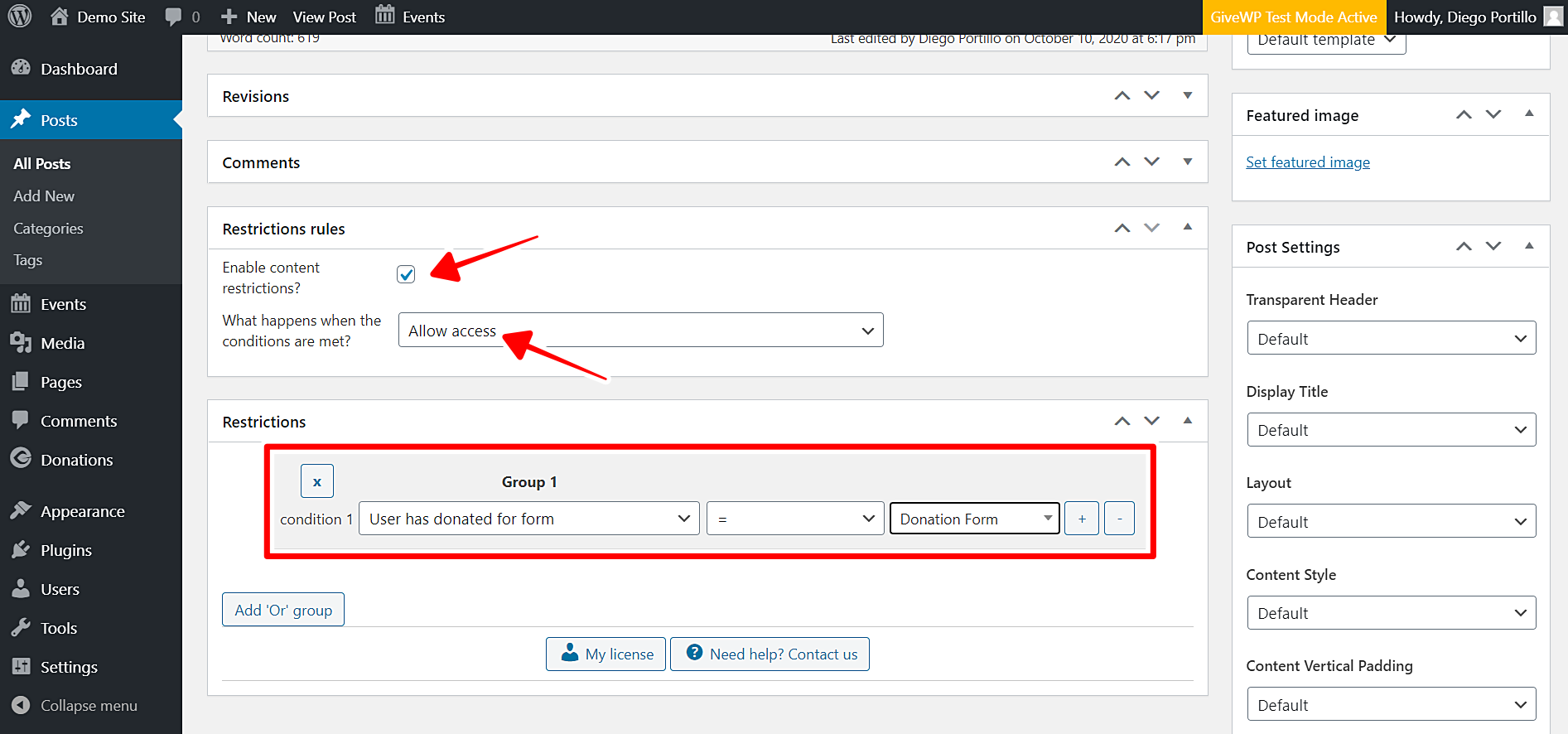 givewp restrict wordpress posts by donations form