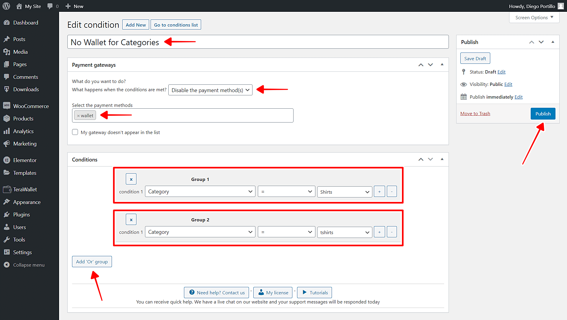 woocommerce disable wallet gateway for categories
