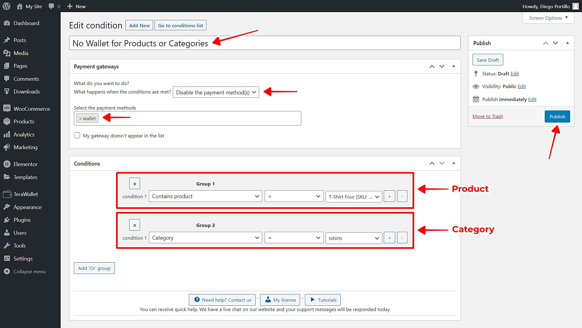 woocommerce disable wallet gateway