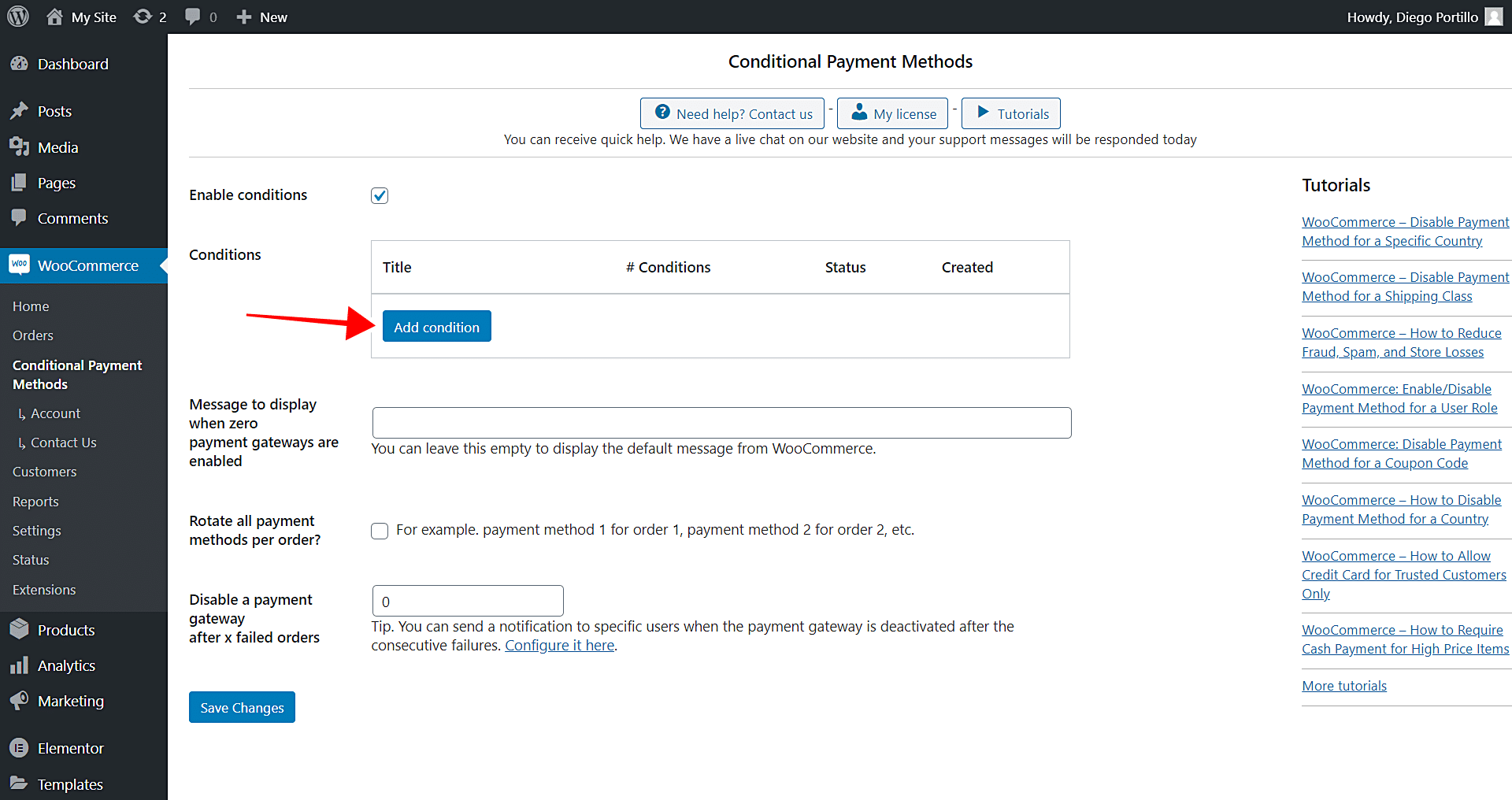 woocommerce disable payment gateways for wallet deposits