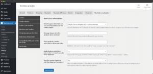 Advanced restrictions settings tab