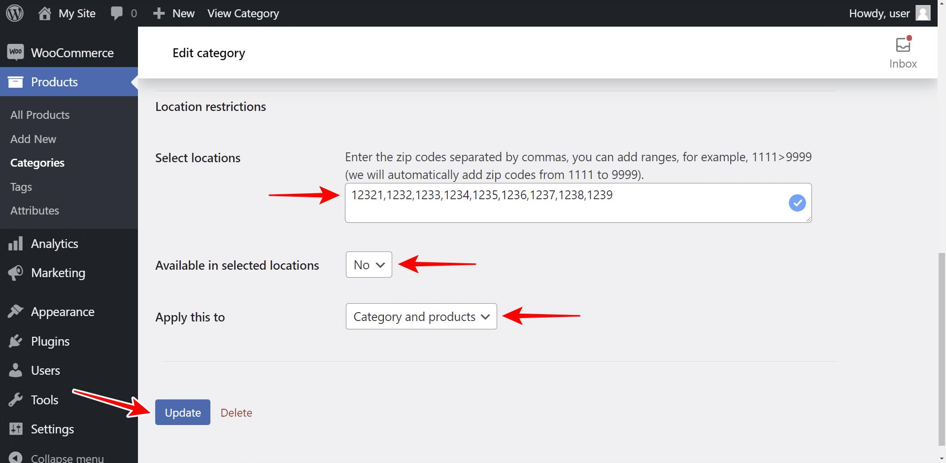 woocommerce restrict categories by zip code