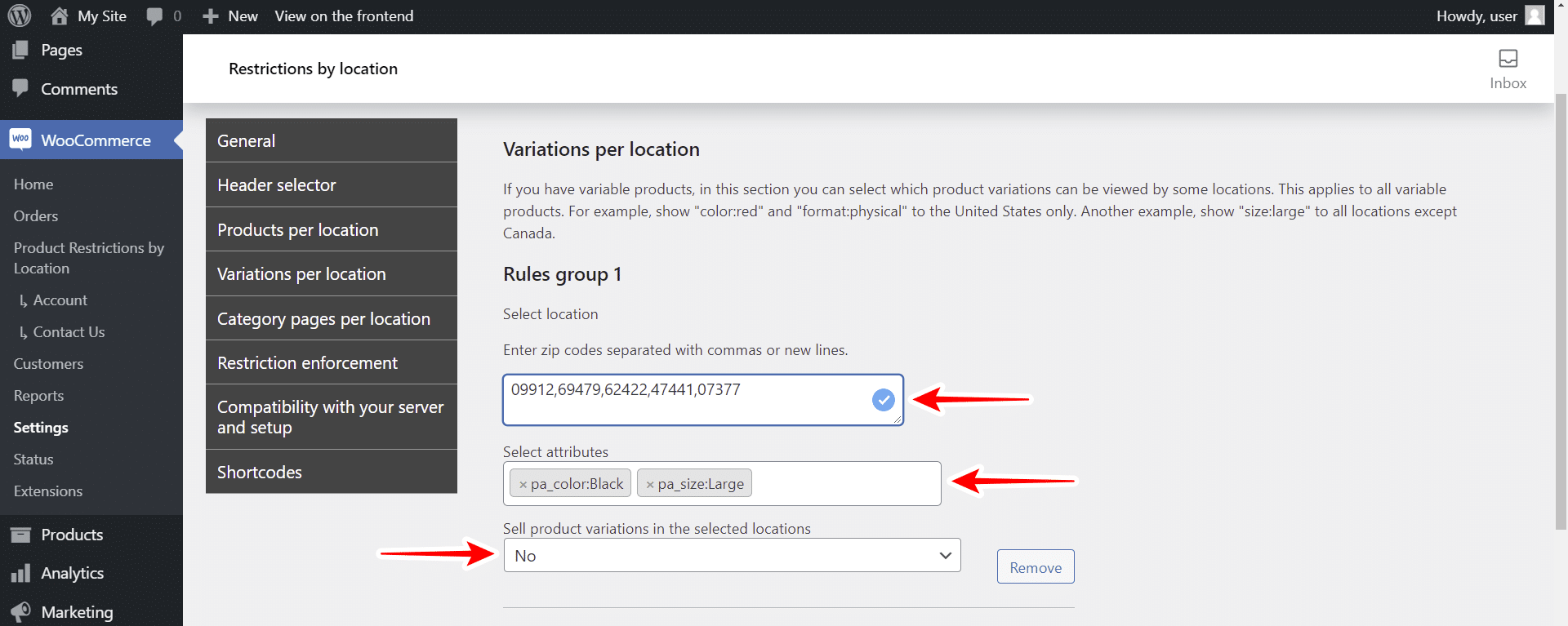 woocommerce restrict variations by zip code