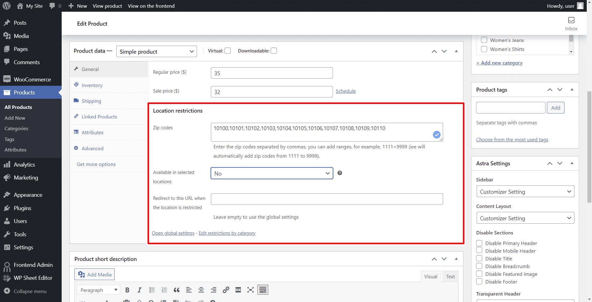 woocommerce hide product reviews by zip code